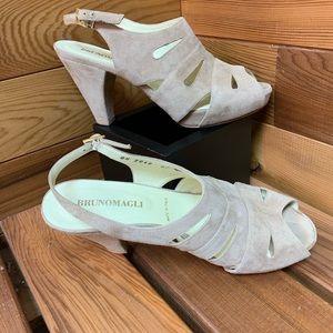 Bruno Magli Suede Leather Peep Toe Platform Heels